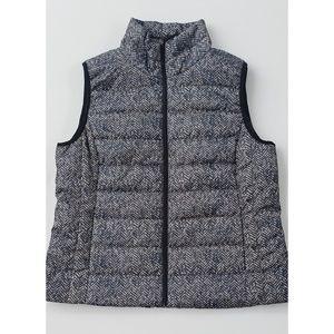 Herringbone Print Quilted Lightweight Zip-up Vest